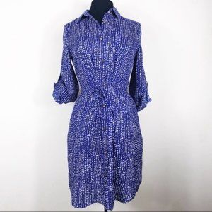 Maison Jules Blue & White Polka Dot Shirt Dress